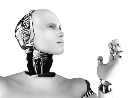 The profile of a male robot gazing into the future. Isolated on white background. Standard-Bild