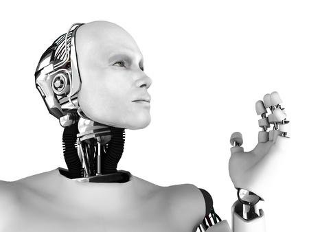 robot: El perfil de un robot macho mirando hacia el futuro. Aislados sobre fondo blanco.