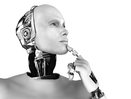 A male robot thinking about something. Isolated on white background. Standard-Bild