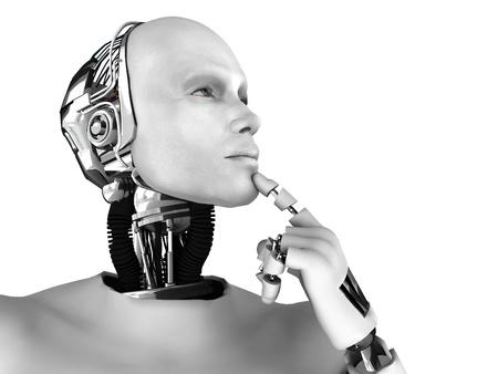 thinking machine: Un robot hombres pensando algo. Aislados sobre fondo blanco.