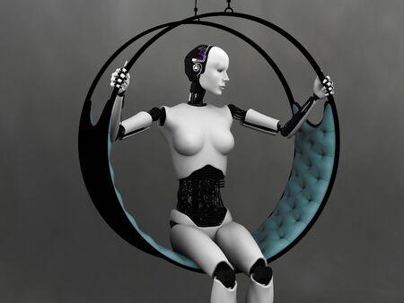 futuristic woman: A robot woman sitting in a futuristic hammock. Grey background. Stock Photo