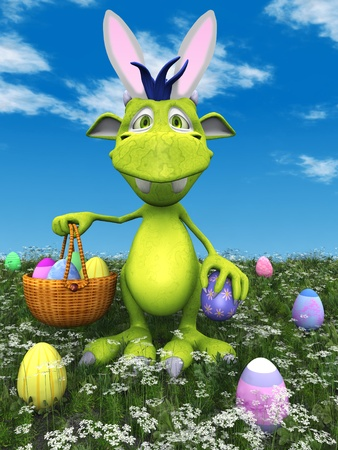A cute friendly cartoon monster holding an easter basket in his hand. He is standing in a meadow with easter eggs scattered around him on the ground. The monster is green with blue hair and he is wearing bunny ears. Stock Photo - 9369305