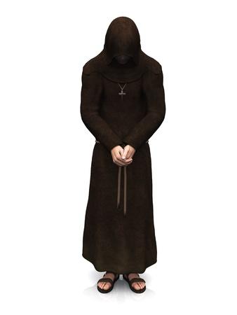 그의 머리를 가진 기독교 스님의 3d 렌더링 숙이 고 심사 숙고 하 고있다. 흰 바탕.
