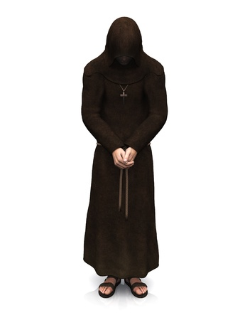 robe: 3d render of a christian monk with his head bowed, contemplating. White background. Stock Photo