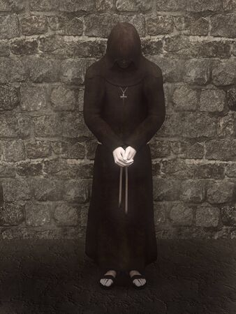 3d render of a christian monk with his head bowed, contemplating. A stone wall is  in the background. photo
