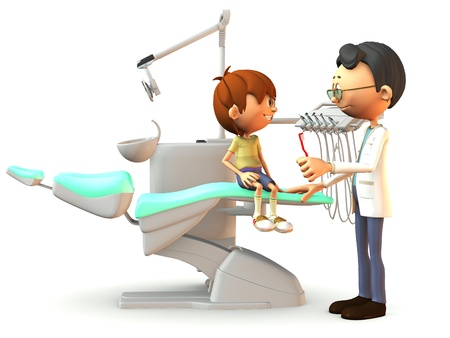 A young, smiling cartoon boy sitting on a dental chair. A dentist stands in front of him with a red toothbrush in his hand. White background. photo