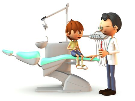 A young cartoon boy sitting on a dental chair. He looks very afraid. A dentist stands in front of him with a red toothbrush in his hand. White background.
