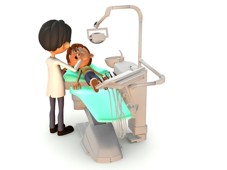 A young cartoon boy getting a dental exam by a dentist. White background. Stock Photo