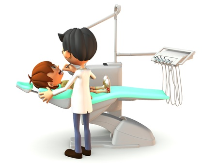cleanliness: A young cartoon boy getting a dental exam by a dentist. White background. Stock Photo