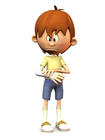 A cartoon boy looking at his broken arm and looking very sad. White background.