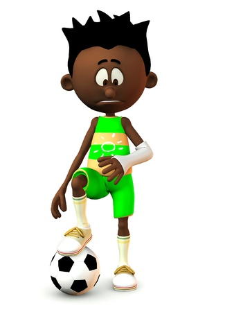 A black cartoon boy looking at his broken arm and looking very sad. He is resting his foot on a football. White background.