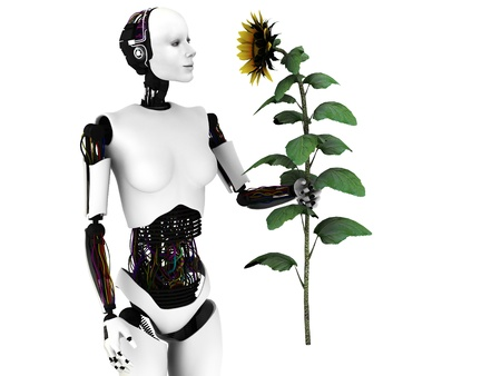 A robot woman holding a sunflower. White background.