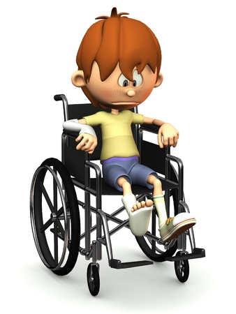 A cartoon boy with a broken leg and arm sitting in a wheelchair. He is looking very sad. White background. Standard-Bild