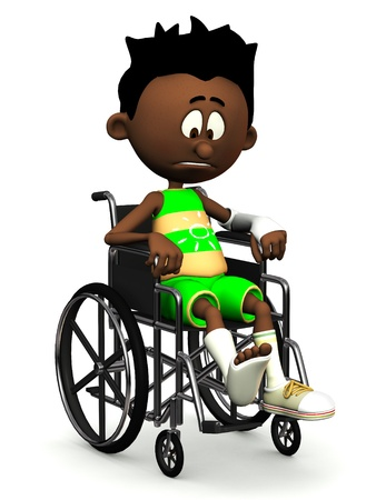 A black cartoon boy with a broken leg and arm sitting in a wheelchair. He is looking very sad. White background.