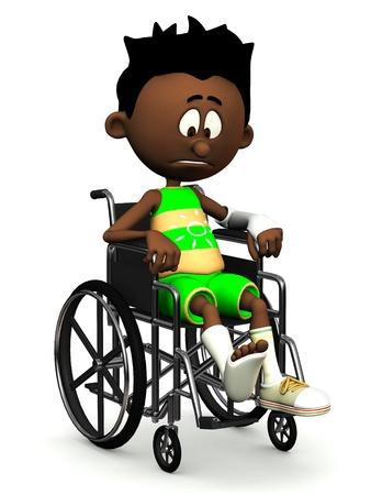 jambe cass�e: Un gar�on de dessin anim� noir avec une jambe cass�e et les bras en fauteuil roulant. Il est � la recherche tr�s triste. Fond blanc.