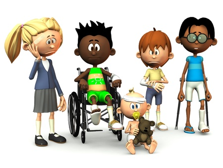 Five cartoon kids with different injuries. White background.