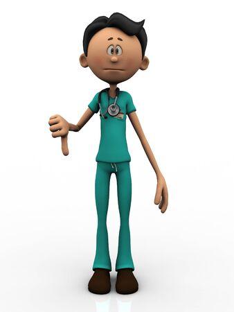Un caricatura joven médico, llevaba un estetoscopio, haciendo un pulgar hacia abajo. Fondo blanco. Foto de archivo - 9988066