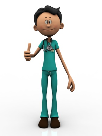 3d illustrations: A young cartoon doctor, wearing a stethoscope, doing a thumbs up. White  background.