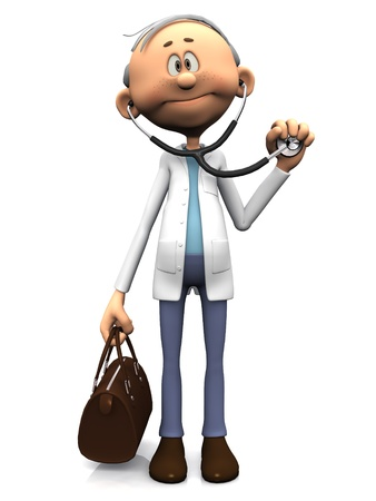 An older friendly cartoon doctor holding a stethoscope in one hand and a doctor bag in the other. White background.