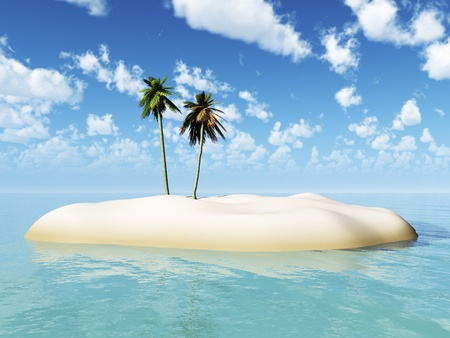 A small tropical island, surrounded by water, with two palm trees. Blue sky and white clouds on a sunny day. photo
