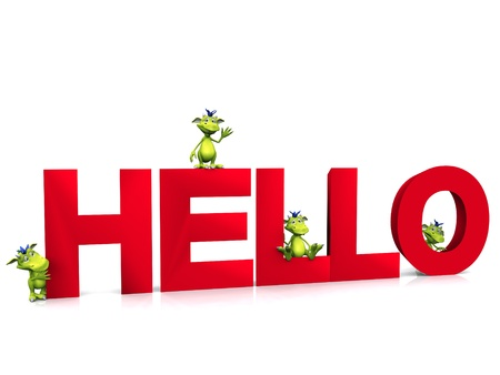 Four green, cute friendly cartoon monsters sitting and standing around the word HELLO. The word is written in red colour. White background. photo