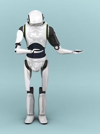 그는 뭔가 제시처럼 그의 팔을 들고 인공 로봇.