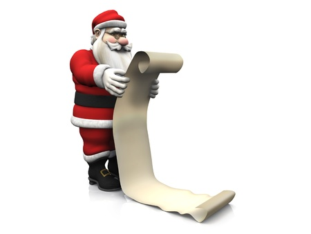 naughty or nice: A cartoon Santa Claus holding a long wish list. White background.