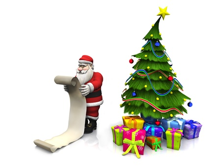 A cartoon Santa Claus holding a long wish list. Beside him is a Christmas tree with presents under it. White background.