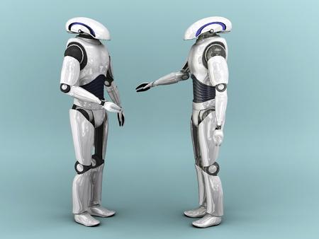 Deux robots qui interagissent avec eachother. Banque d'images