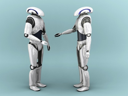 cybernetics: Two robots interacting with eachother.