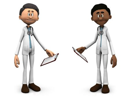 Two cartoon doctors wearing stethoscopes and holding clipboards or medical charts. White background. photo