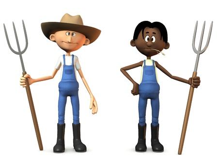 Dos agricultores de dibujos animados la celebración de horcas. Uno de ellos lleva un sombrero de vaquero. Fondo blanco.