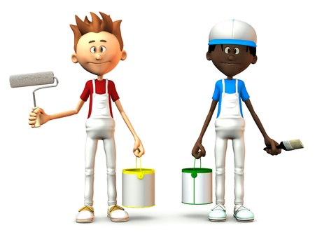 Two cartoon painters holding paint cans, brush and roller. White background.