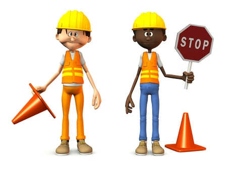 Two cartoon road workers wearing safety vests and holding stop sign and traffic cones. White background.  Standard-Bild