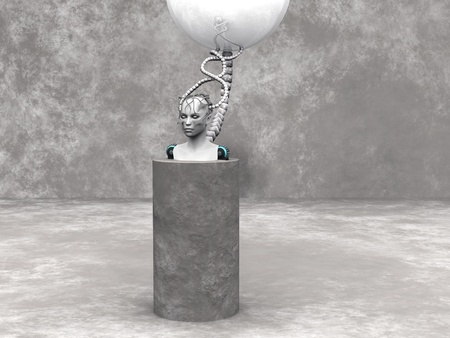 cyber woman: An android woman head on a podium. The head is connected to a big sphere through cables. Grey stone wall in the back and stone floor around the podium. Stock Photo