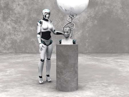 android robot: An android woman head on a podium. A female robot standing beside her. The head is connected to a big sphere through cables. Grey stone wall in the back and stone floor around the podium.