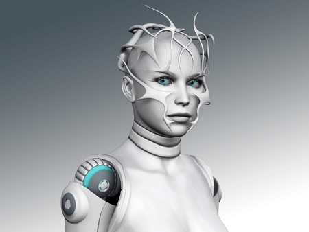 Portrait of a futuristic looking android woman.