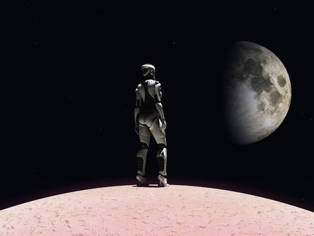 An android woman standing on a planet and gazing out in space. Stars and a planet in the background. photo