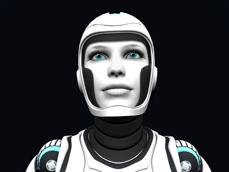 The face of an android woman, gazing out in space. Stars in the background.