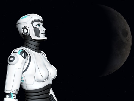 gazing: The face of an android woman, gazing out in space. Stars and a planet in the background. Stock Photo