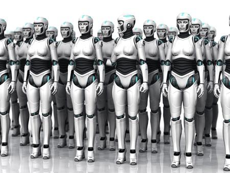 행에 서있는 인간 여자의 그룹은, 눈을 감 으면. 안드로이드 중 하나는 깨어있다. 스톡 콘텐츠