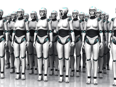 A group of android woman standing in rows, eyes closed. One of the androids have woken up. photo