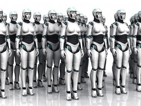 A group of android woman standing in rows, eyes closed. Standard-Bild