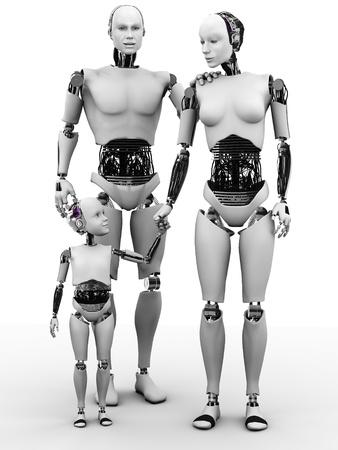 mano robotica: Una familia de robots que consiste en un hombre, mujer y niño. Blanco fondo.