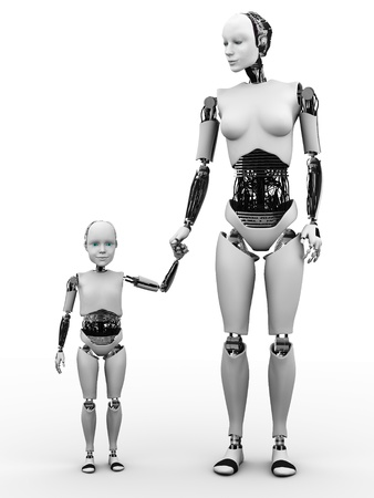 robot: Robot trzyma rękę kobieta z dzieckiem robotem. Białe tło.