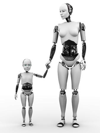 robot: Una mujer de la mano de robot con su hijo robot. Blanco fondo. Foto de archivo