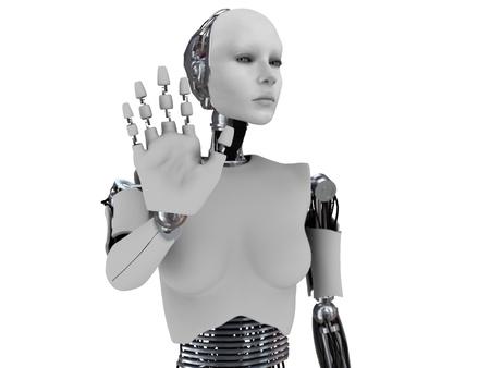 그녀처럼 그녀의 손을 들고 로봇 여자는 사람을 중지하고 있습니다. 손에 초점이 몸의 초점이 맞지 않습니다. 흰색 배경입니다.
