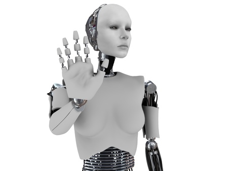 she: A robot woman holding her hand up like she is stopping someone. The hand is in focus and the body is out of focus. White background.