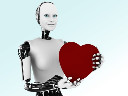 A robot woman holding a big red heart.