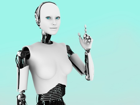 A robot woman holding her hand up with her index finger extended, like she is having an idea. photo